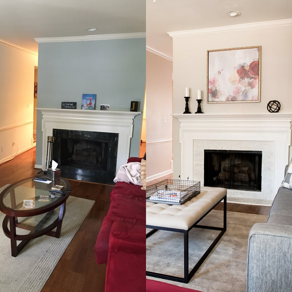 Living room interior design in Atlanta - before & after