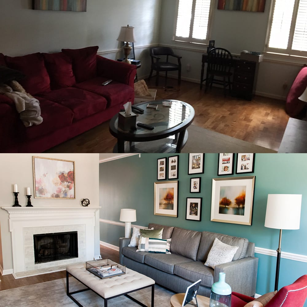 Atlanta living room interior design - before & after