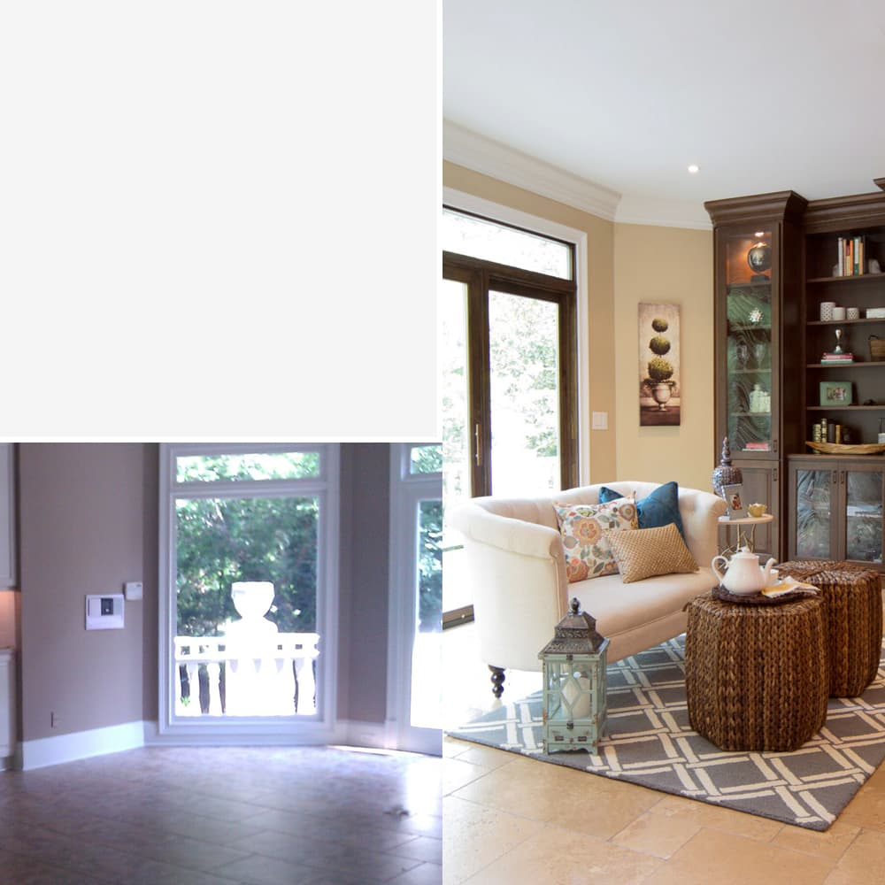 Living room interior design Atlanta - before & after