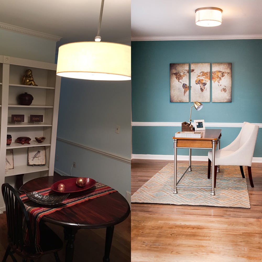 Home office interior decor in Atlanta - before & after