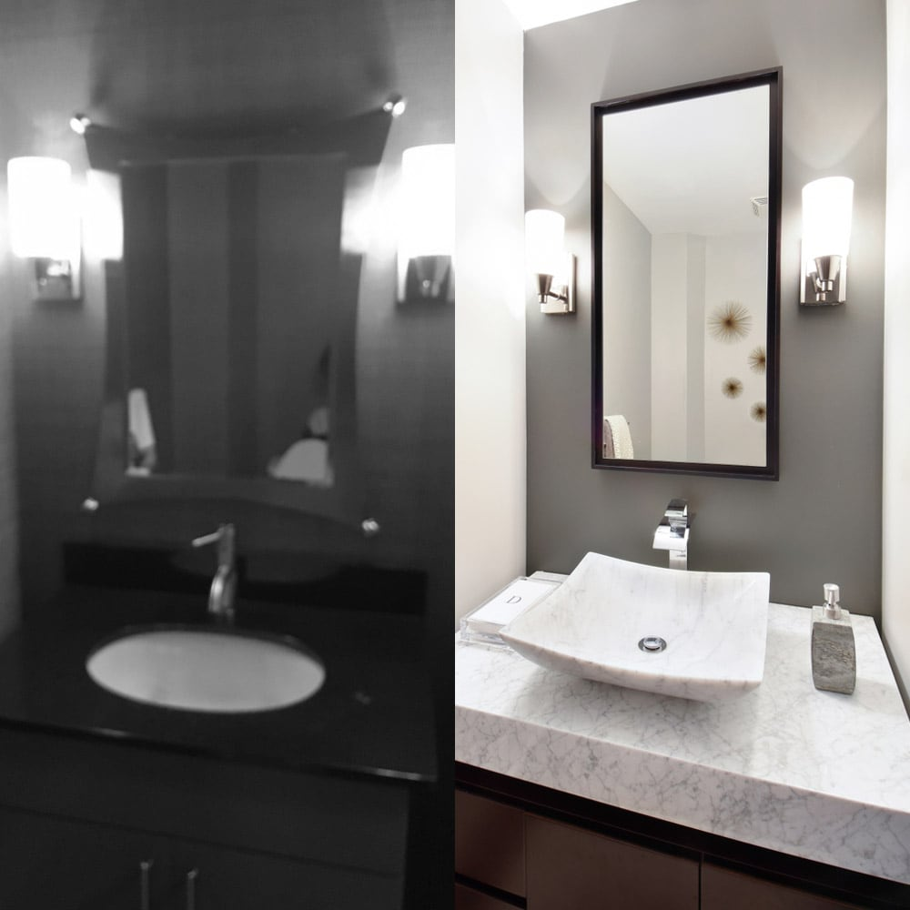 Bathroom sink decor in Atlanta - before & after