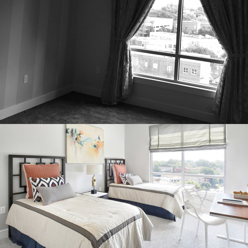 Atlanta's guest bedroom interiors - before & after